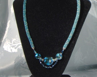 Teal bead crocheted necklace