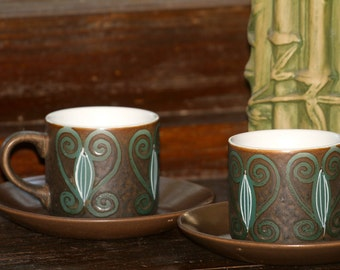 Gorgeous Vintage 1970's Ironstone Teacup and Saucer (set of 2)