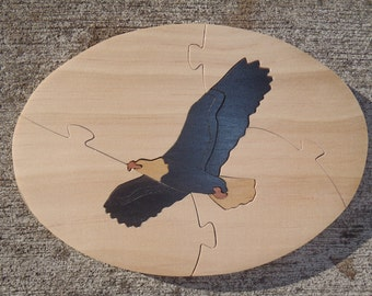 Handmade Bald Eagle Wooden Jigsaw Puzzle
