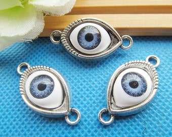 15mmx30.12mm Cute Cabinet Antique Silver tone/Antique Bronze Evil Eye Connector Pendant Charm/Finding,With10x15mm Cabochon Eye,DIY Accessory