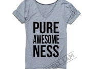 PURE AWESOMENESS Longer tee with v neck and sleeve tabs, unique