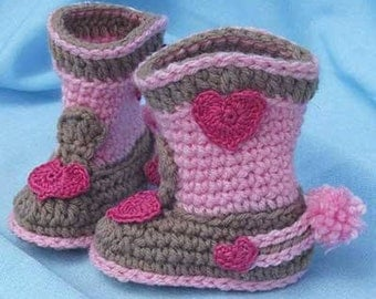 """Sweet Girl's Cowboy boots, pink/brown, hearts and """"spurs"""""""