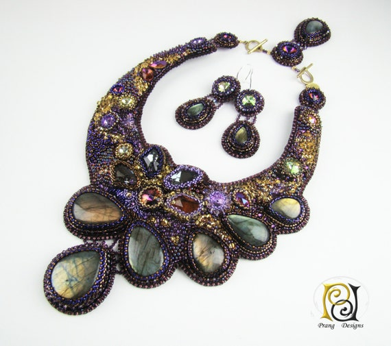 Items similar to bead embroidery necklace labradorite