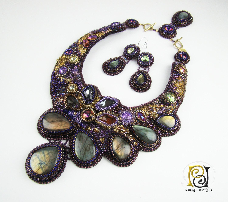 Bead embroidery necklace labradorite yellow