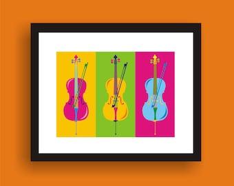 Cello -  Pop Art Original Print by C Wiedenheft  comes with a white mat and ready to frame.