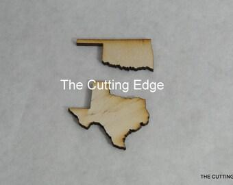"""One Dozen 4"""" Laser Cut Wooden States"""
