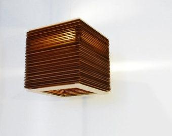 "Laser Cut Stacked Cardboard Lamp - 12"" x 12"" x 12"" Modern Pendant Hanging Light"