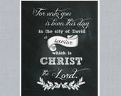 "Christmas Art Chalkboard  Design ""A Savior is Born"" Digital Print"