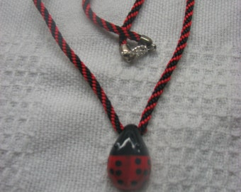 Lady Bug pendant on a braided rope