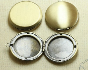 5pcs  31x36mm Antique brozne Round  Phase Box  Locket  Jewelry findings link xf05796