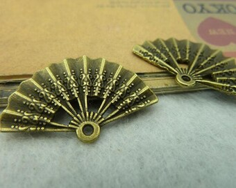 10pcs 21x32mm Antique bronze hand fan  charms,  pendant tray Jewelry findings wholesale bC3875