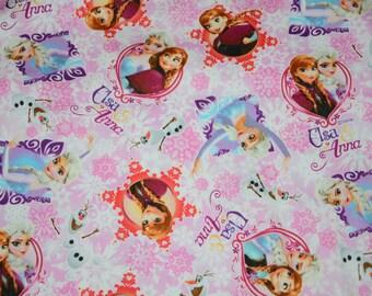 Fat Quarter - Princess Elsa Princess Anna Disney Frozen Fabric/ Pink