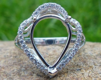 Pear Shape 10x13MM 14K White Gold Semi Mount Ring / Diamond Ring