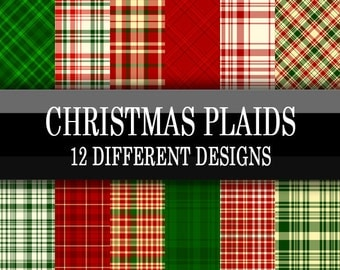 Scrapbook Paper - Digital Download - Christmas Plaid - Red, green, white plaid printable designs - Holiday Paper Pack