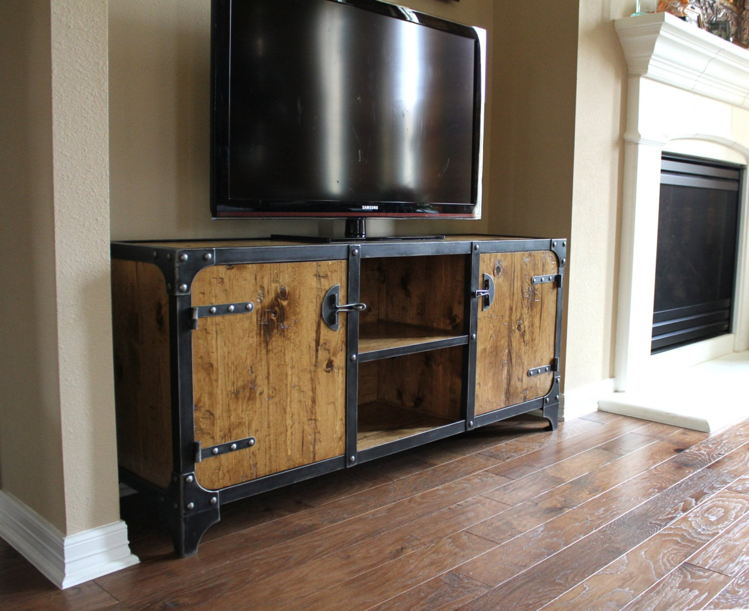 industrial media cabinet tv stand media console. Black Bedroom Furniture Sets. Home Design Ideas
