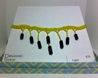 Lapis yellow weave choker