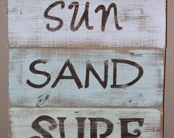 Sun, Sand, Surf Beach Sign 18 X 15