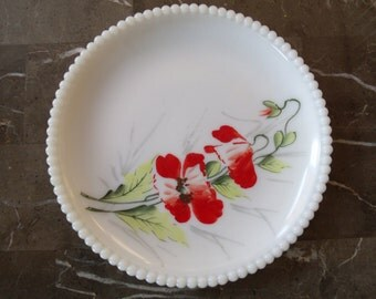Painted milk glass plate