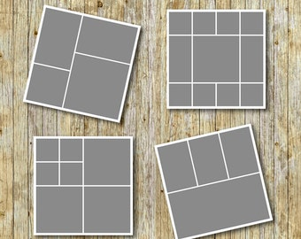 "Photo storyboard template 20""x20"" for photographers, photoshop templates, instant download, commercial use, S02"