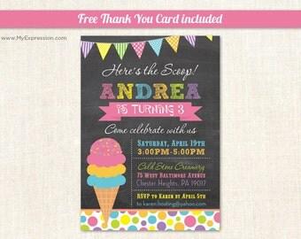 Here's the Scoop Ice Cream Chalkboard Birthday Invitations - Birthday Party - Printable