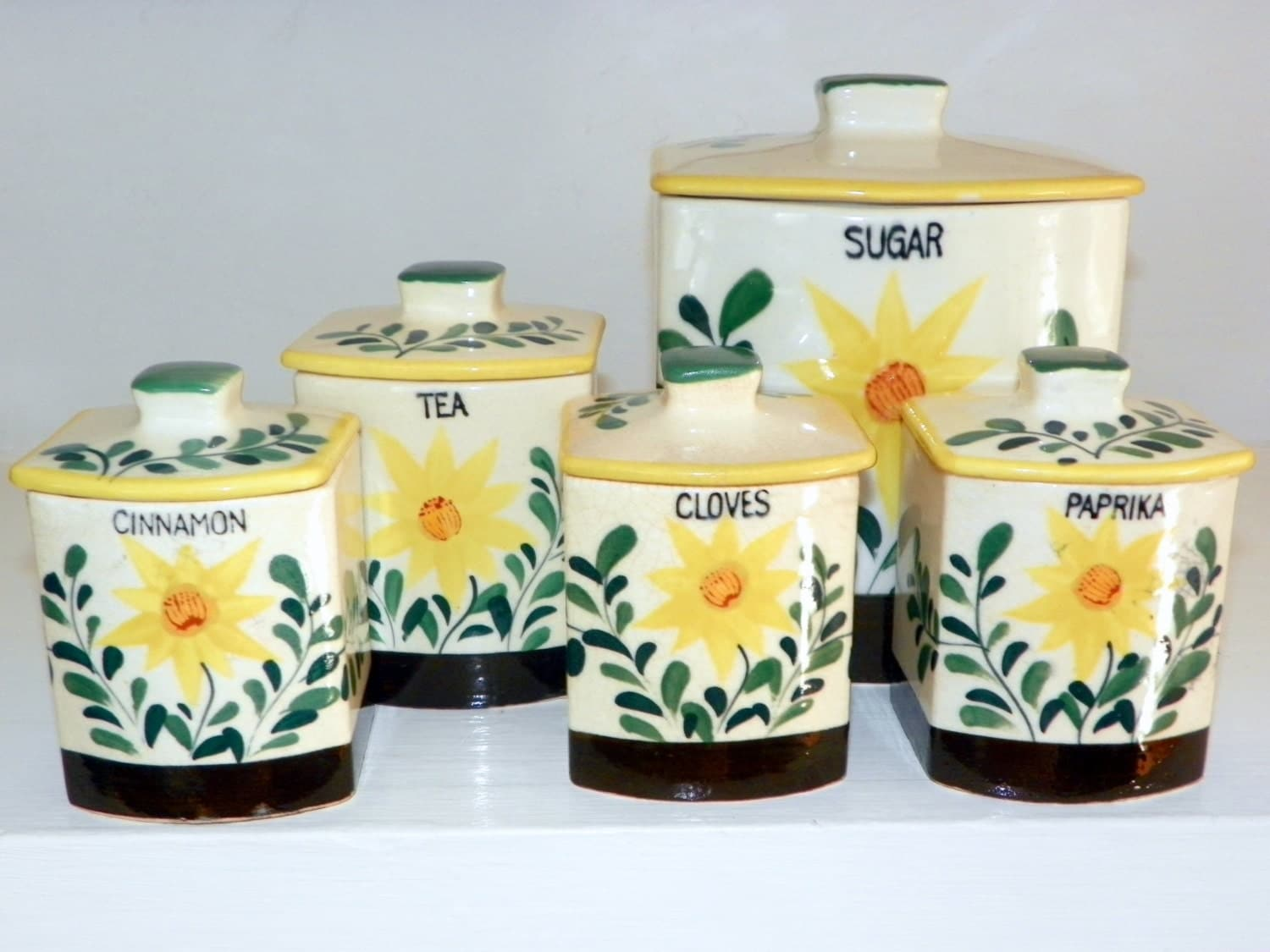 vintage canister set of 5 50s nasco sunflower canisters new 3pc sunflower canister set glass kitchen canisters on