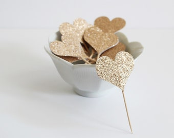 12 Glitter Heart Cupcake Toppers / Cocktail Picks / Food Picks / Birthday Party / Baby Shower / Bridal Shower / Party Favors / Gold Hearts