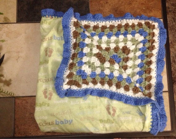 Double Sided Crochet Baby Blanket Pattern : Double Sided Crochet and Flannel Baby Blanket