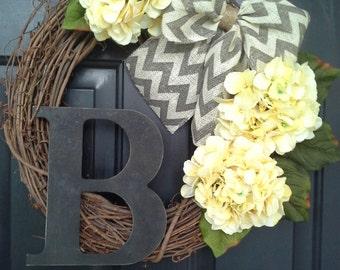 Front Door Wreath, Everyday Wreath, Door Decor, Yellow Wreath, Hydrangea wreaths, Wreaths,