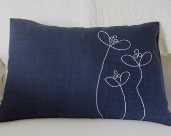 Hand-Embroidered White Flowers on Navy Blue Linen Lumbar or Square Pillow Cover - Various Sizes