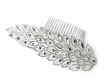 Modern Side Hair Comb with Marquise & Round Cut Rhinestones