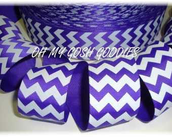 "PURPLE WHITE CHEVRON grosgrain ribbon -7/8"", 1.5"", 2 1/4"", 3"" widths - 5 Yards - Oh My Gosh Goodies Ribbon"