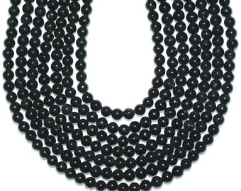 Black Tourmaline Beads 4 mm Round Full Or Half Strand