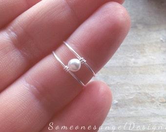 Bridal Ring, Pearl Ring, Thin Ring, Sterling Silver Ring, Midi Ring, Knuckle Ring, Silver Midi Ring, Silver Knuckle Ring, Above Knuckle Ring