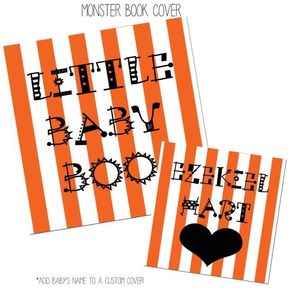 Custom Cover - Monster, Black and Orange Baby Book