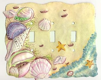 Switchplate Covers, Switch plate cover - Sea Shell Switchplate - Light Switch Cover - Switchplate Covers,  Painted Metal Wall Art - S-1028-3