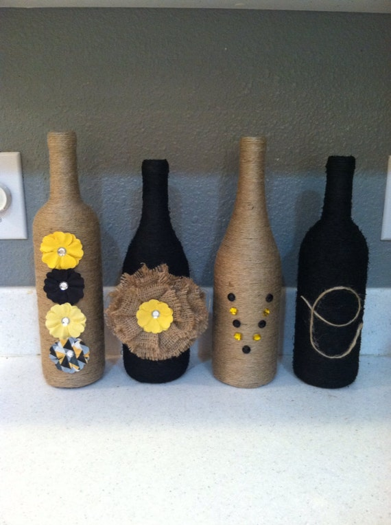 Twine Wrapped Bottles - Love Grows Wild |Twine Covered Wine Bottles