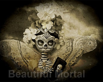 Beautiful Mortal Day of the Dead Goth Sepia Butterfly Doll Canon PRINT 545 Reproduction by Michael Brown