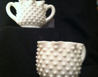 Vintage milk glass cream and sugar with star like edging