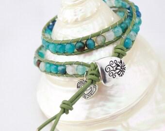 ETS-B0037 leather wrap bracelet, wraps agate beaded leather bracelet, agate beaded bracelet, 1 piece