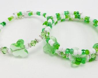 Green Butterfly Wrap Memory Wire Bracelet -  Kid's or Teens Jewelry Gift