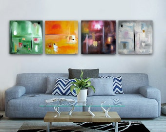FOUR SEASONS Original abstract painting, 4 paintings 24x24 each abstract landscape modern painting seasonal painting contemporary landscape