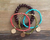 Boho Bracelet Stack: Brown, Coral , Lime, Turquoise & Gold