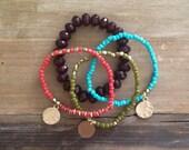 Boho Bracelet Stack: Brown, Coral , Lime, Turquoise & Gold