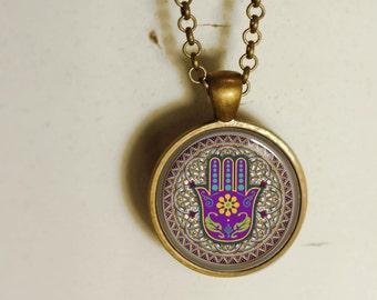 Hamsa pendant. Hamsa hand necklace. protection necklace. Good luck art pendant.(Hamsa #3)