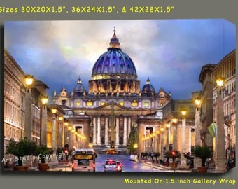 """ITALY Vatican Rome Canvas Giclee, Acrylic Art W Gallery Wrap Ready To Hang Up To Size 42X28X1.5"""""""