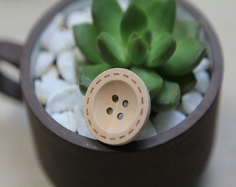 20 Pieces Natural Color Wood Buttons - 25mm - 4 Hole Natural Wooden Button Natural Color Round