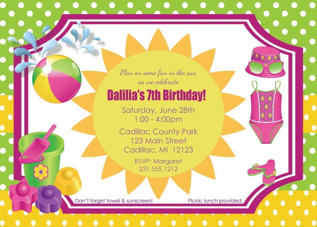 beach birthday invitations