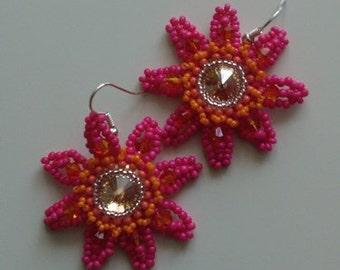 Pink Orange Opaque Crystal Swarovski Earrings