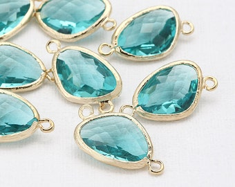 Clearance(70%DC)  - Blue Zircon Glass Connector, Pendant Polished Gold-Plated - 2 Pieces [G0061-PGBZ]_Regular price 4.50