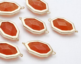 Orange Stone Connector(Cross) Matte Gold -Plated - 2 Pieces <SS0017-MGOR>